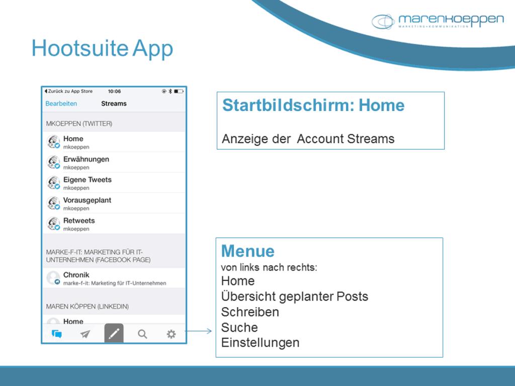 Hootsuite App fürs iPhone: So sieht die Startseite aus.