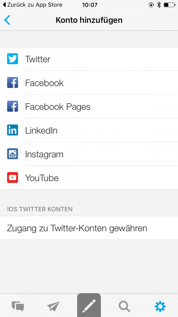 Mit diesen Netzwerken können Sie in der Hootsuite App arbeiten.