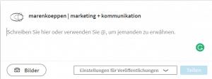 LinkedIn Unternehmensseite - Beitragsfenster