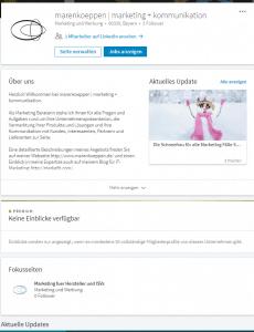 LinkedIn Unternehmensseite mit einer Fokusseite