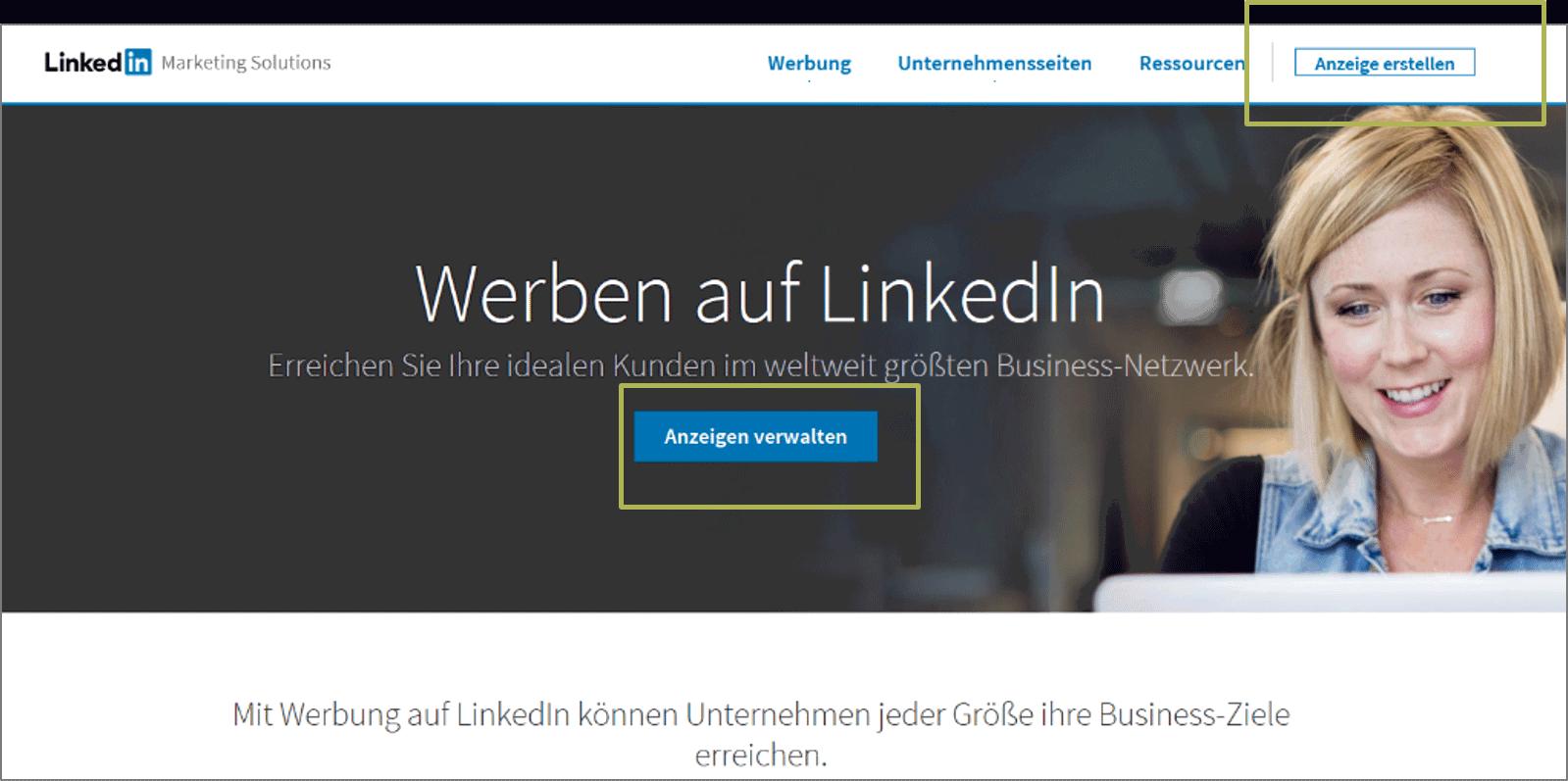 LinkedIn Anzeigen Start