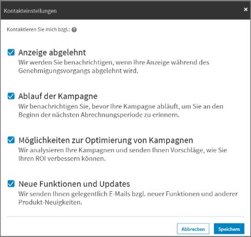 LinkedIn Kampagnenmanager - Werbekonto - Kontakteinstellungen