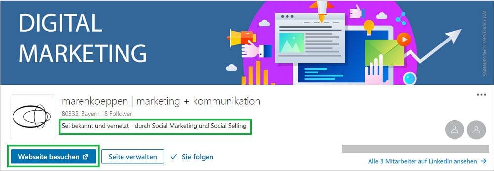 LinkedIn Seite - neue Funktionen im Header