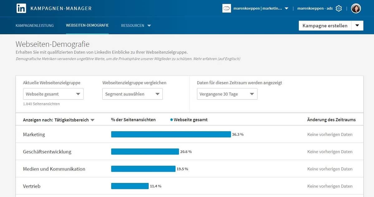 LinkedIn Kampagnenmanager und Insight Tag_Webseiten Demografie