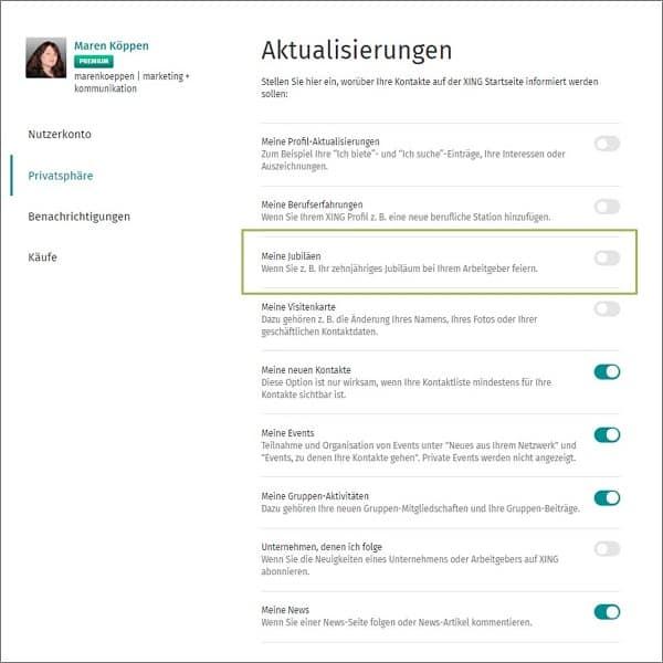 Xing Einstellungen: Jubiläums Nachricht ausschalten