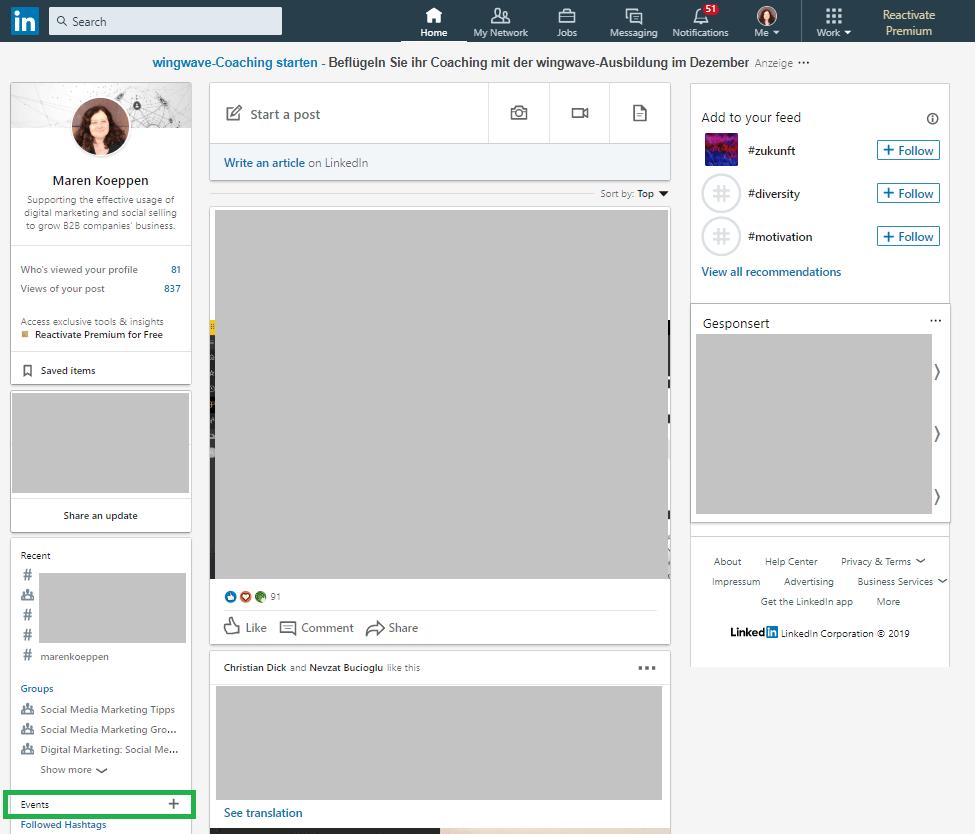 Darstellung, wo die LinkedIn Events Funktion zu finden ist