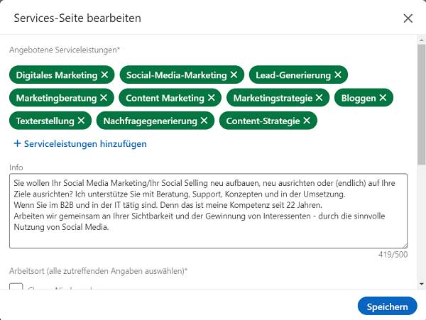 LinkedIn Profil mit Service Info