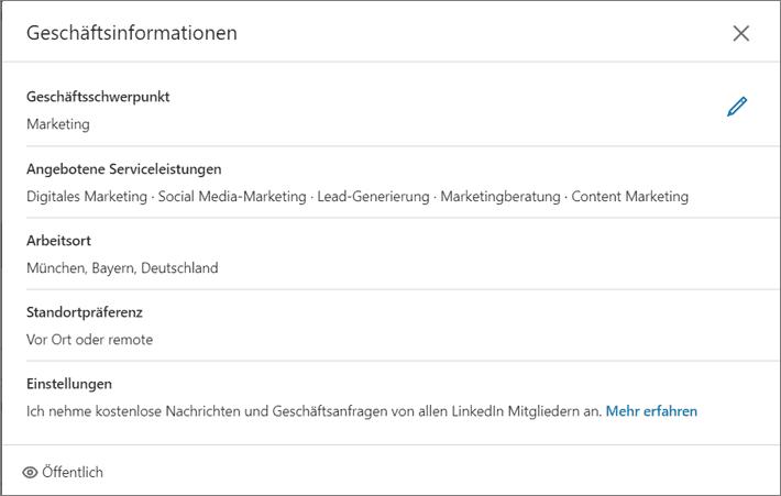 LinkedIn Profil mit Serviceeinstellungen - Detailansicht der Services