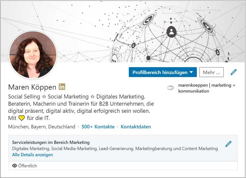 LinkedIn Profil mit Serviceeinstellungen - Darstellung im Profil