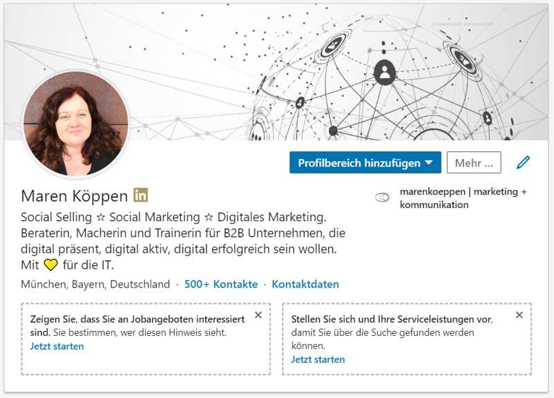 LinkedIn Profil mit Serviceleistungen - neue Funktion
